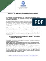 politica de tratamiento de datos auros quimicos