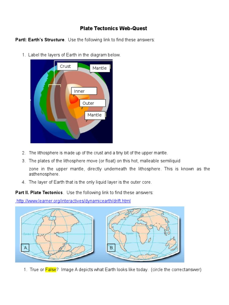 worksheet Plate Boundary Worksheet Answers plate tectonics web quest student volcano