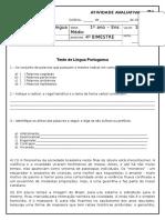 Avaliação de Língua Portuguesa. 4 Bimestre (1 Ano - E. M). P1