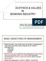 Business Ethics and Values in Banking Industry