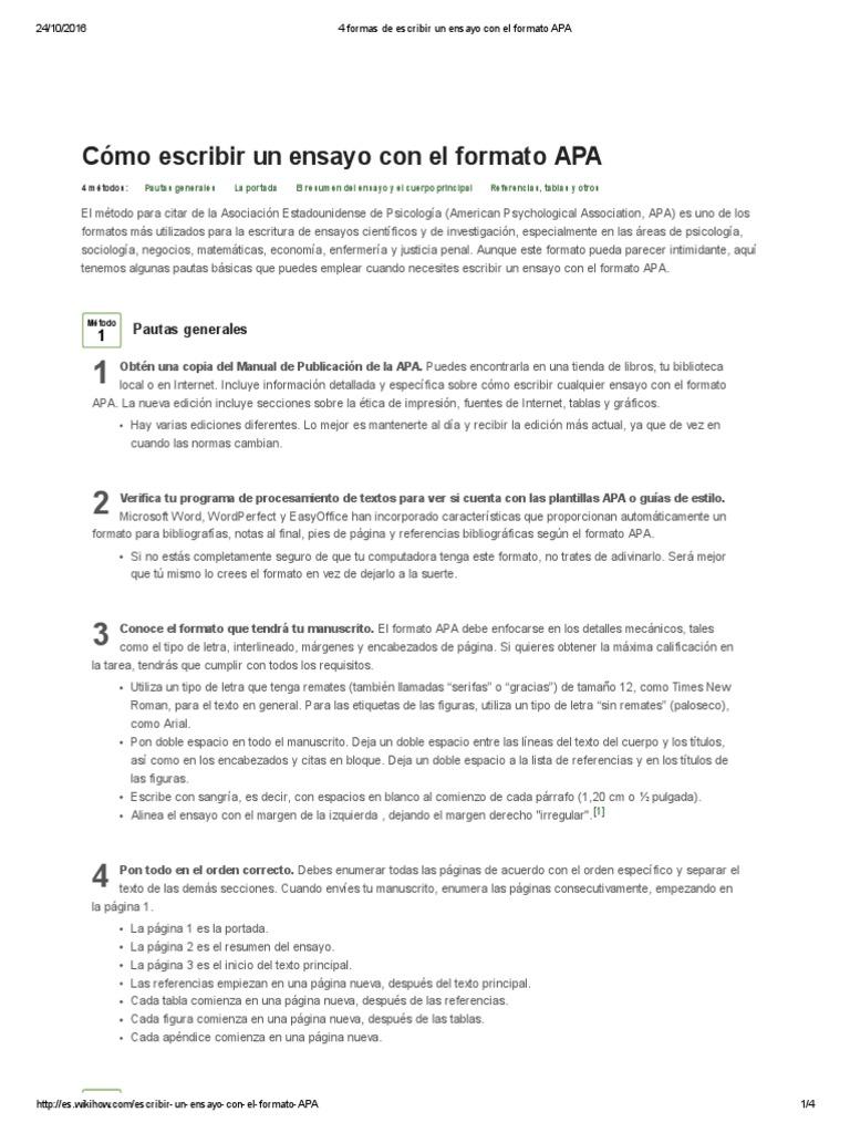 Moderno Plantilla De Ensayo De Formato Apa Ornamento - Ejemplo De ...