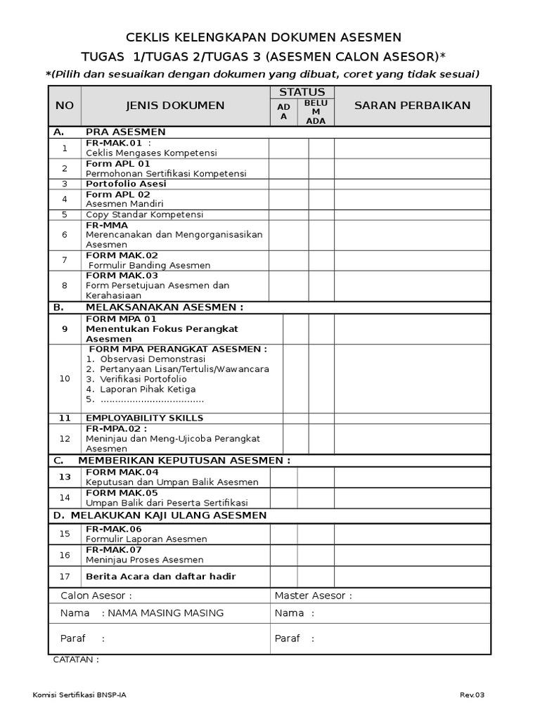 checklist kelengkapan dokumen 2016