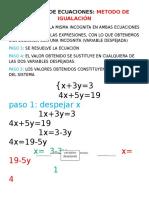 Sistemas de Ecuaciones (Igualacion)