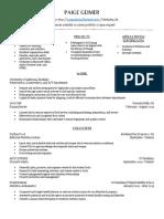 resume for dietetics