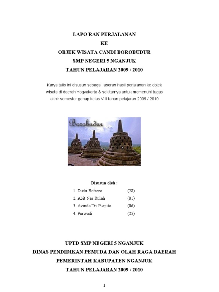 Kata Pengantar Laporan Study Tour Ke Yogyakarta Seputar Laporan
