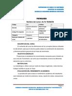 Programa Del Curso Alta Tensión Codigo 224 Versión 2