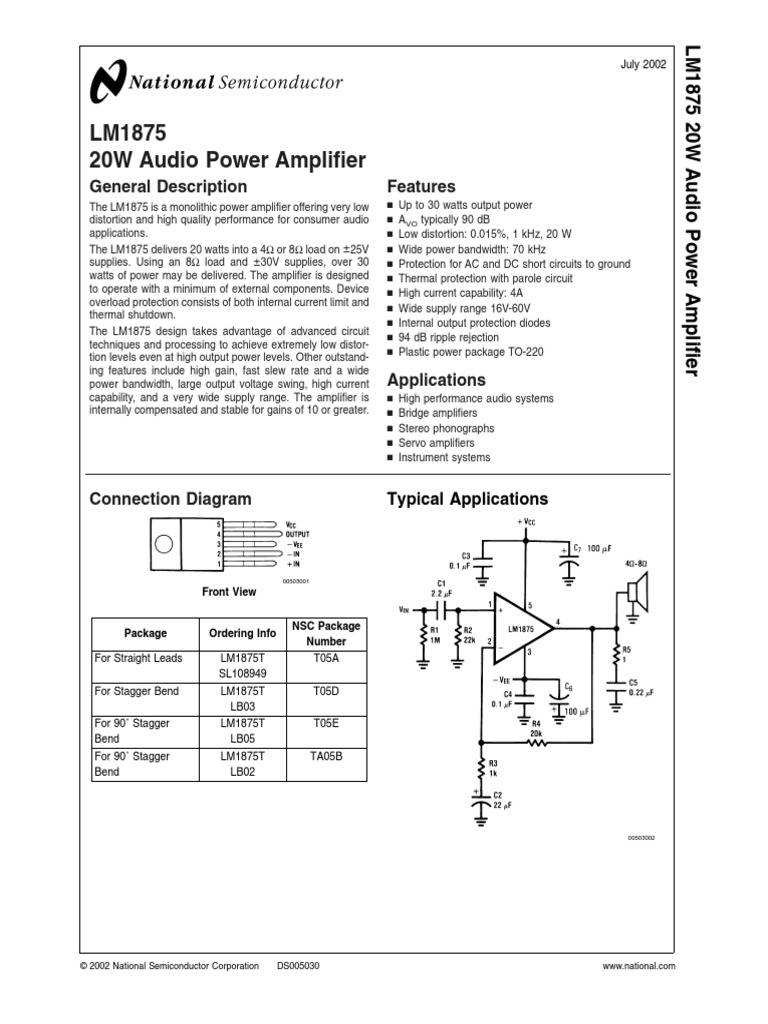Lm1875 Amplifier Capacitor 20w Audio Using