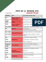 Fete de La Musique 19 Juin 2010 - Quimperle - Programme