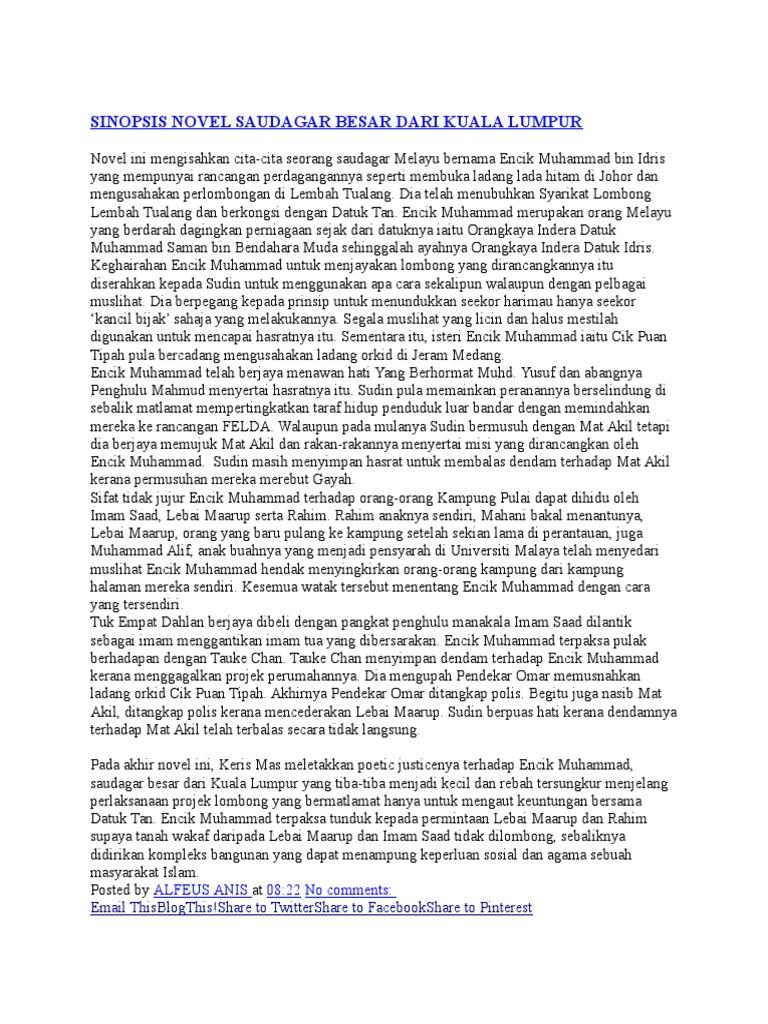 Sinopsis Novel Saudagar Besar Dari Kuala Lumpur