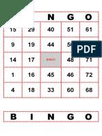 Bingo de Numeros Ele Español