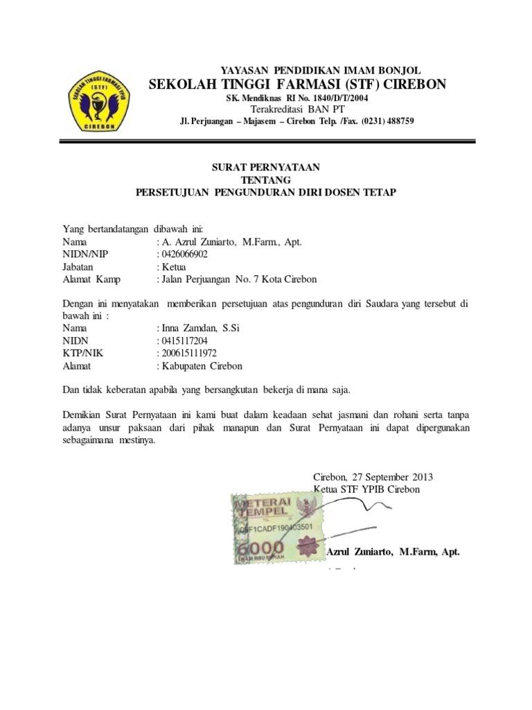 Surat Pengunduran Diri Dosen Tetap Yayasan - Contoh ...