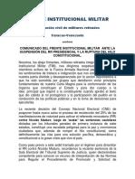 Comunicado Frente Institucional Militar