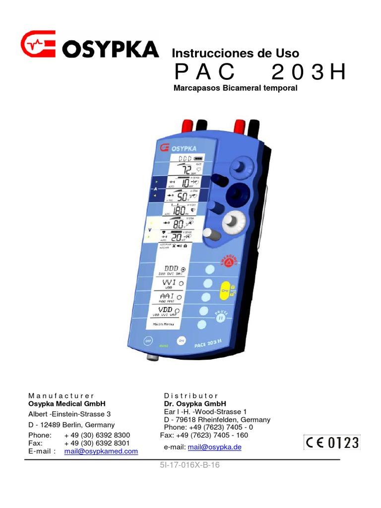 OSYPKA Marcapasos PAC 203C manual Español