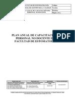 Plan Anual de Capacitacion Del Personal No Docente de La Facultad de Estomatologia