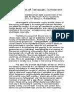 Advantages of Democratic Government