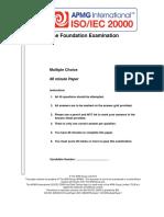 ISO-IEC 20000 Foundation Exam Sample Paper - January 2014