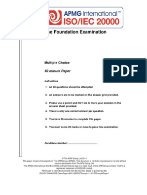 ISO-IEC 20000 Foundation Exam Sample Paper - January 2014 | Itil