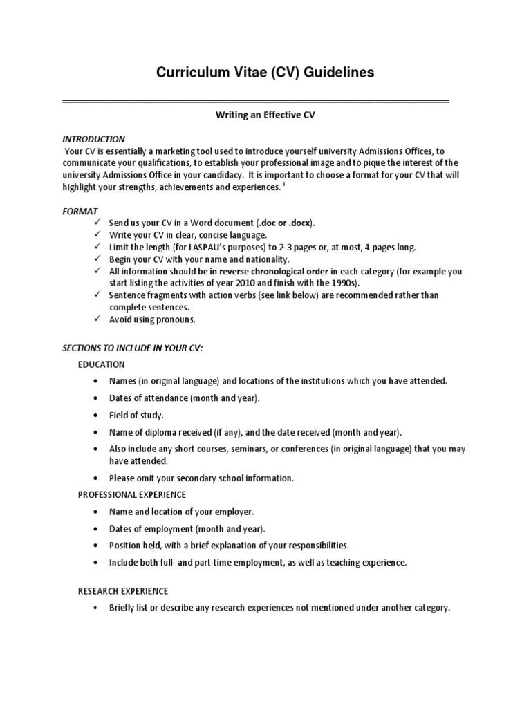 Cv Guidelines Graduate School Postgraduate Education