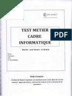 Test Métier Cadre Informatique