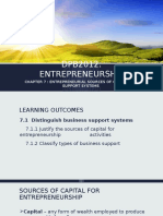ENTREPRENEURIAL SOURCES OF CAPITAL AND SUPPORT SYSTEMS