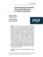 Exploring Pedagogical Strategies for Teaching Large (Merged) Classes in Values Education 1