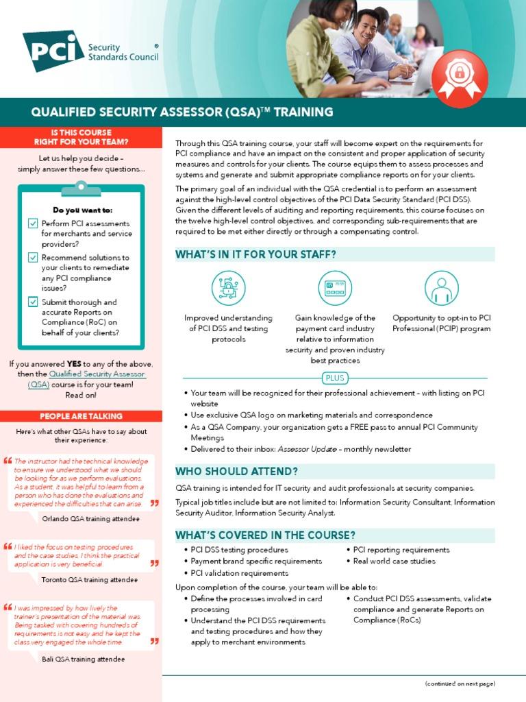 Pci Qsa Training Course Description Payment Card Industry Data