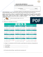 Evaluación Matemática Tercer Año 11 Adecuada (Calendario. Hora, Datos)