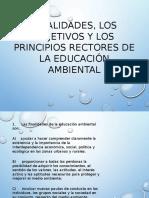 Finalidades, Los Objetivos y Los Principios Rectores de la Educación Ambiental