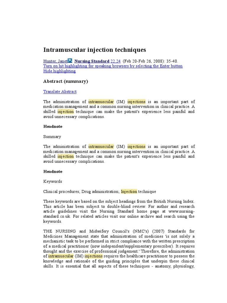 Intramuscular Injection TechniquesJOURNAL | Injection
