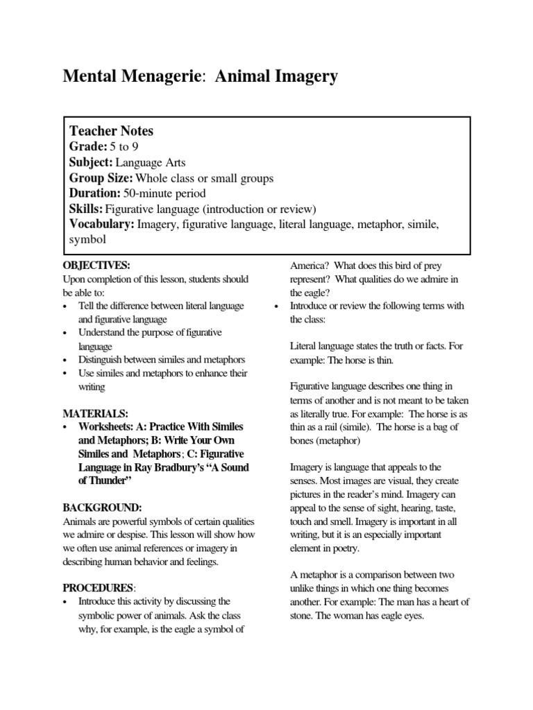 Free Worksheet Figurative Language Review Worksheet figurative language in ray bradbury a sound of thunder pdf