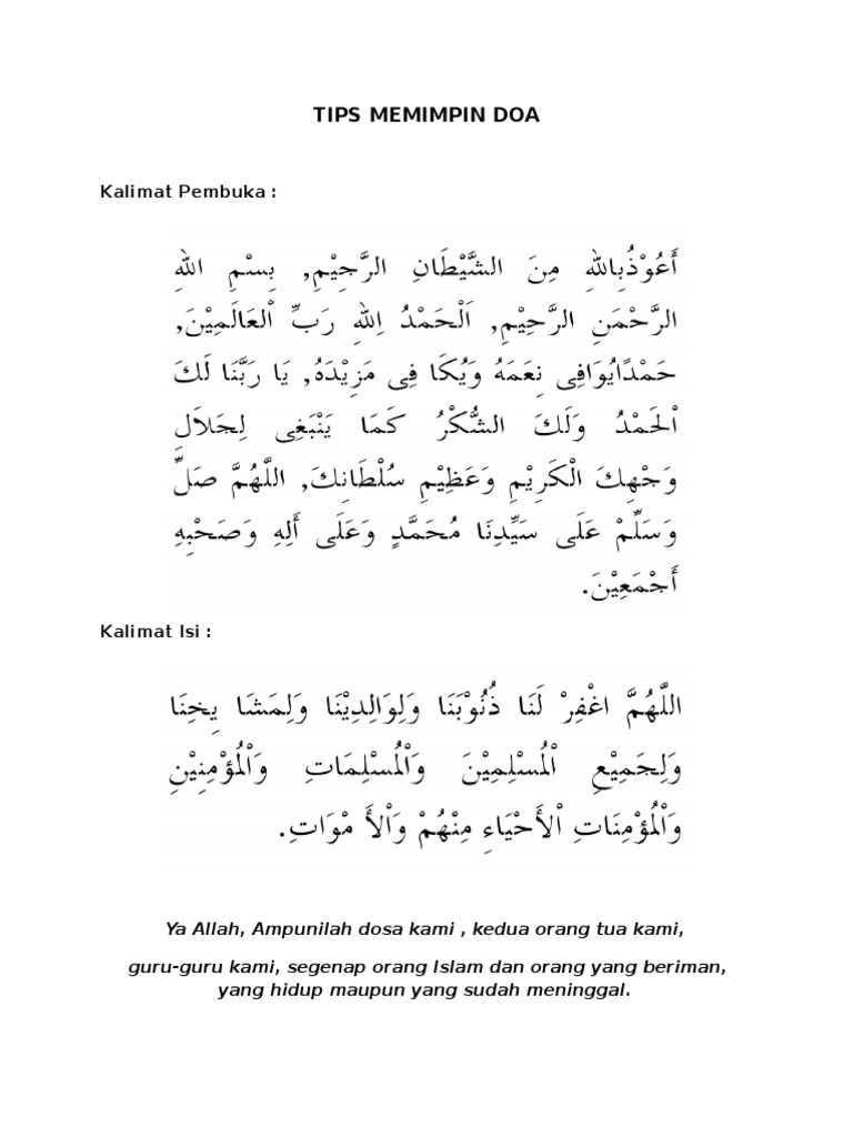 Tips Memimpin Doa
