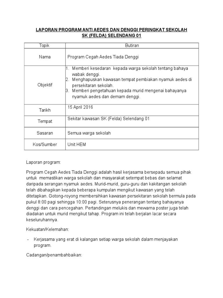 Laporan Program Anti Aedes Dan Denggi Peringkat Sekolah b4d9670032