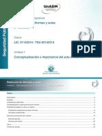 Unidad 1. Conceptualizacion e Importancia Del Acta e Informe