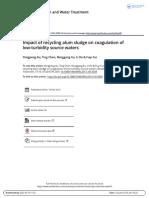 Impact of Recycling Alum Sludge on Coagulation of Low Turbidity Source Waters