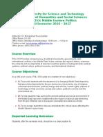 2016 17 Fall POLI 252 ME Politics Course Syllabus (2)