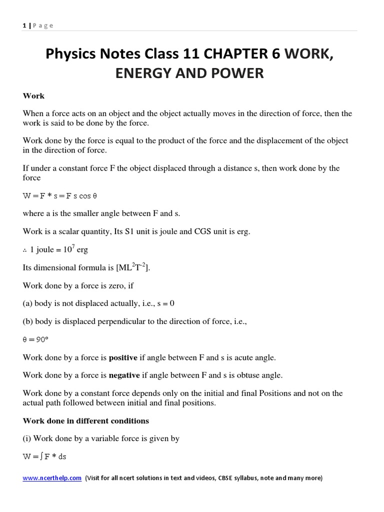 Physics Notes Class 11 Chapter 6 Work, Energy and Power   Collision ...