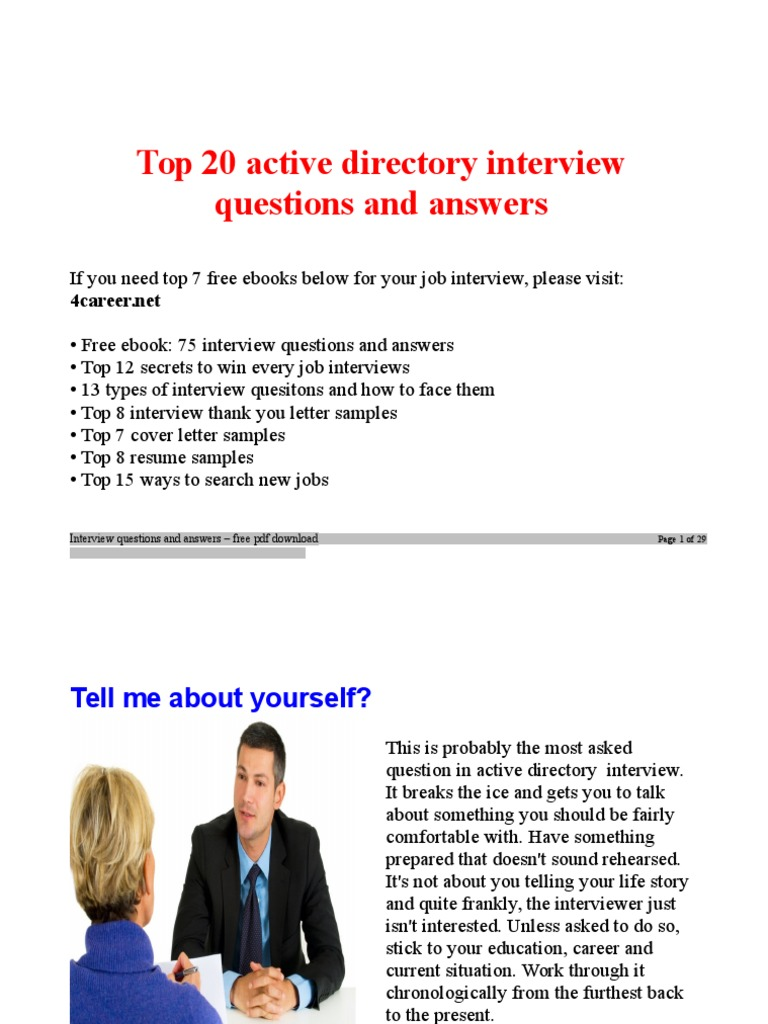 Active Directory Interview Questions Active Directory