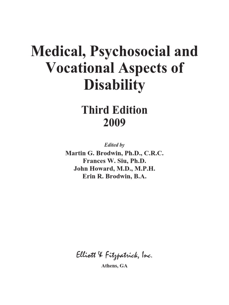 Medical psychosocial and vocational aspects of disability medical psychosocial and vocational aspects of disability psychiatric rehabilitation disability fandeluxe Gallery