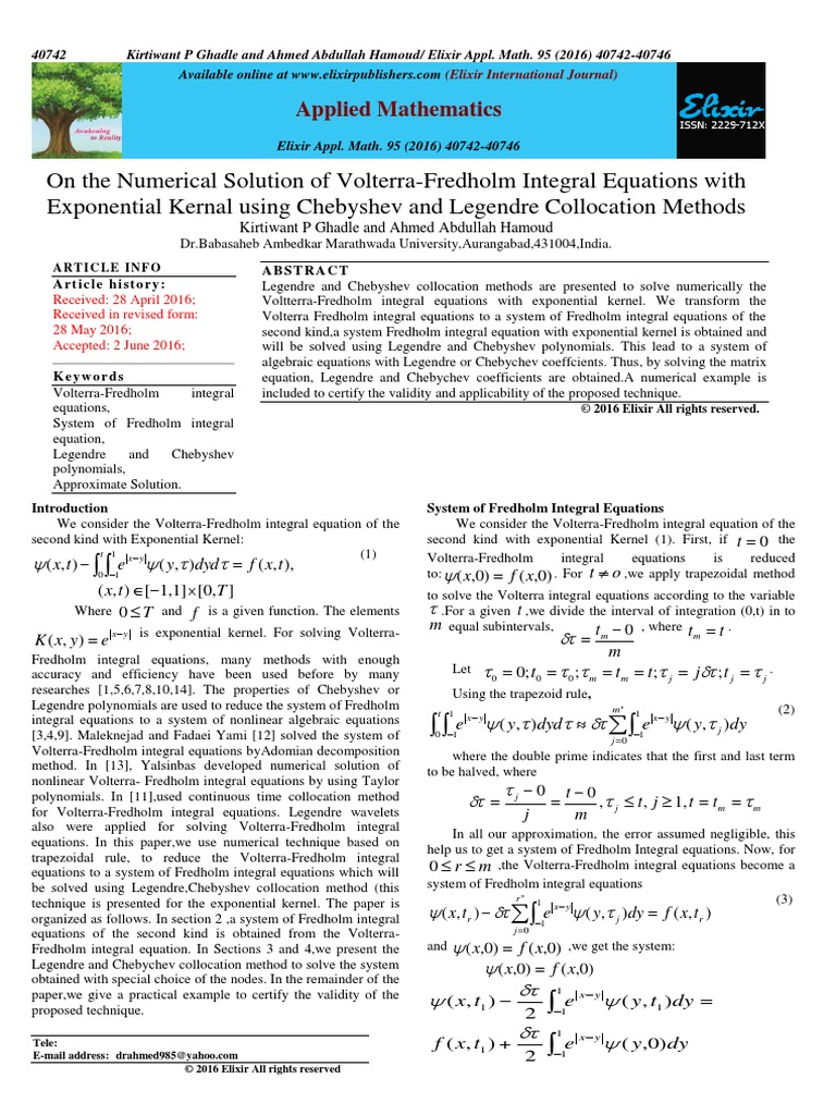 On the Numerical Solution of Volterra-Fredholm Integral