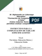 1 INSTRUCTIVO PARA LA COMPLETACIÓN DE TABLA DE ESPECIFICACIO