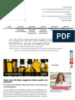 25 Óleos Vegetais Mais Usados Na Estética, Guia Completo!
