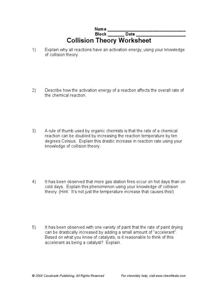 Collision Theory Worksheet   Activation Energy   Chemical Reactions