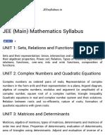 JEE (Main) Mathematics Syllabus - 2017-2018