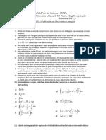 Lista de exercicios aplicação de derivadas e integral + Gabarito