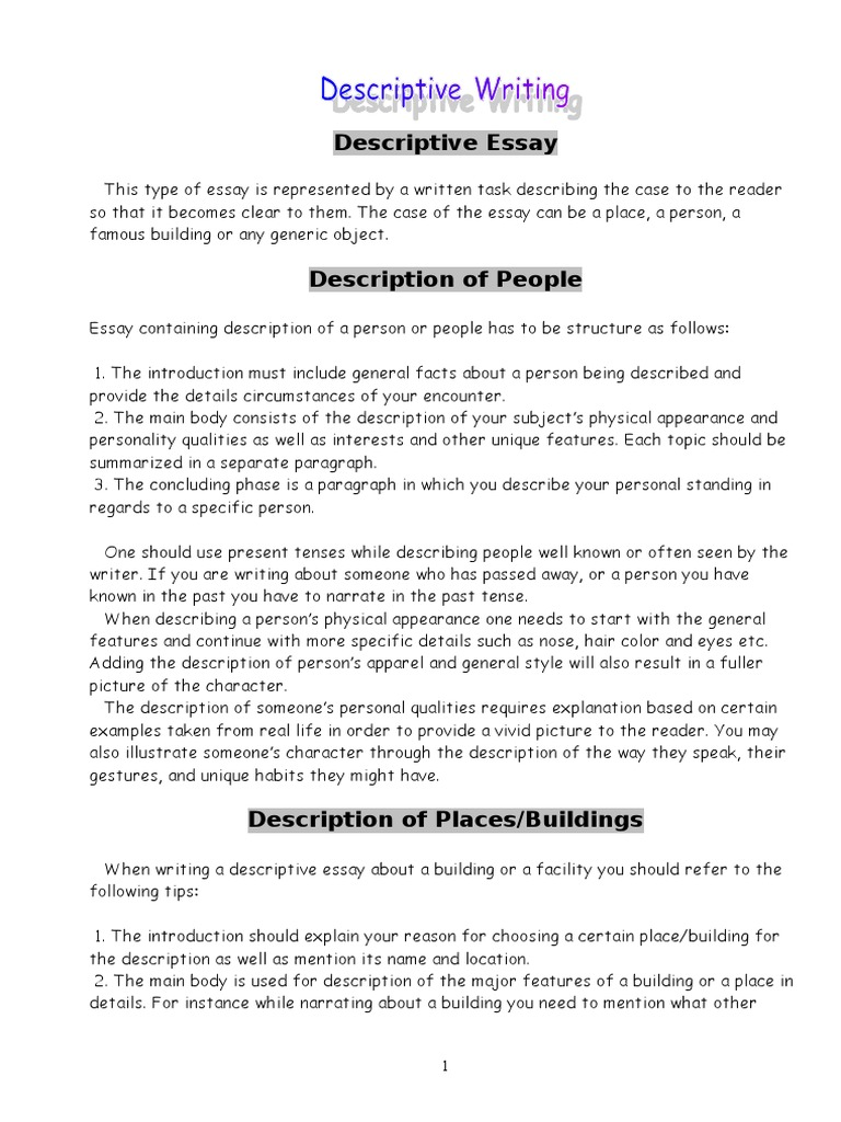 description of a person essay