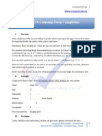 Pre-ielts Listening Form Completion