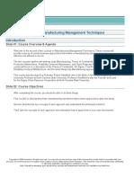 Manufacturing Management Techniques Part 2 of 2