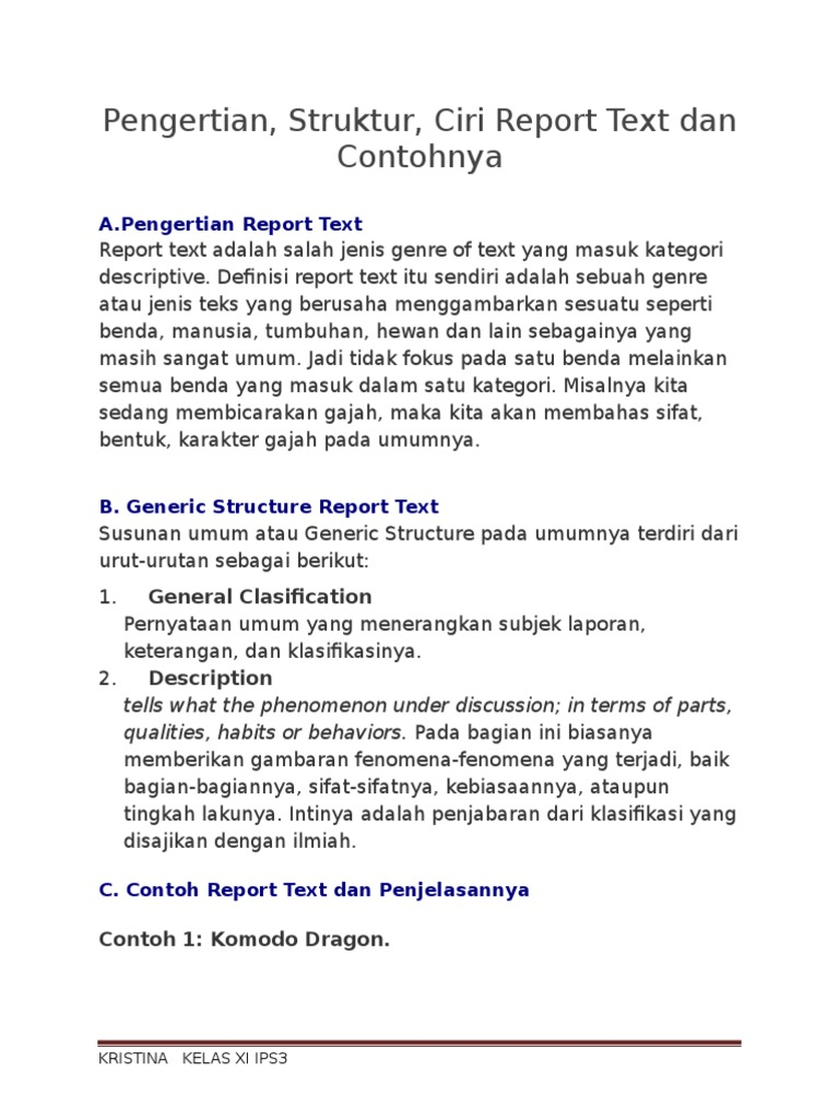 Pengertian Report Text Dan Contohnya