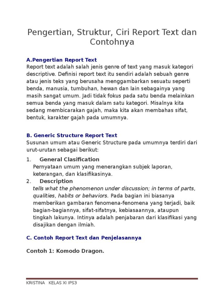 Pengertian Struktur Ciri Report Text Dan Contohnya