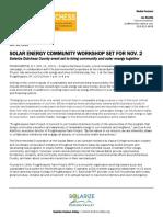 Solar energy community workshop set for Nov. 2